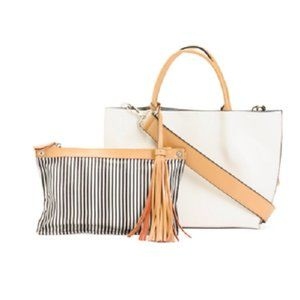 Co-Lab COLAB 2in1 White Leather Tote Bag w/Pouch